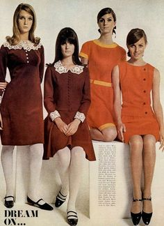 Dresses - A Rainbow of 50 Dresses (Pictures) - Reddish-brown dresses with lace colors & reddish-orange dresses - Sixties Fashion, Mod Fashion, Teen Fashion, Vintage Fashion, Fashion Outfits, Fashion Trends, Sporty Fashion, Winter Fashion, Fashion Women