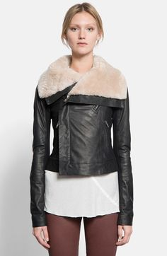 Rick Owens Leather Biker Jacket with Genuine Beaver Fur Collar available at #Nordstrom