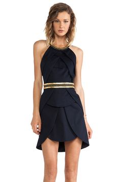 robe bleu nuit avec doré en liseré, dos nu ! blue dark dress
