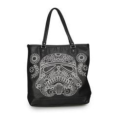 Star Wars Storm Trooper Walking Stitch Floral Denim Tote - Star Wars - Brands