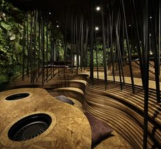 Ryoji Iedokoro Architecture Office have created a mesmerising interior for a yakiniku restaurant in the heart of Tokyo's Roppongi district. Architecture Romane, Architecture Baroque, Architecture Office, Landscape Architecture, Landscape Design, Architecture Design, Chinese Architecture, Futuristic Architecture, Architecture Panel