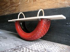 tire rocker, I made this, what I found out....make the board longer the younger the kids using it, so you don't have a preschool kid launcher!!