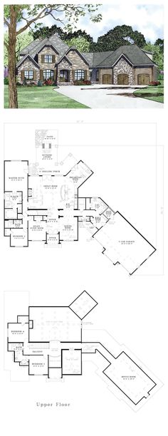 French Country Style House Plan Number 82164 with 4 Bed 4 Bath 3 Car Garage French Country House Plan 82164 French Country House Plans, French Country Bedrooms, French Country Style, French Country Decorating, Country Home Plans, Bedroom Country, Country Houses, Country Bathrooms, Country Kitchen