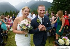 Bride and Groom down the aisle, Heather Mountain Lodge wedding.  Golden, BC  rustic