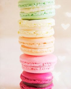 Heart Rainbow Macarons - 8x10 Fine Art Food Photography. French macaron cookies in pale pink rose lemon pistachio