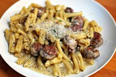 Greek pasta with Sausage and Blue Cheese. Sounds so delicious.