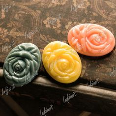 3 Plastic Resin Lucite Flatback Flower Cabochons Cabs 25x18 Mixed Rose RB0568