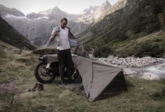 The Motorcycle Bivouac by Exposed, is the perfect companion on your journeys, providing the necessary shelter and letting you enjoy the outdoors the purest way possible. Designed by a group of motorcycle enthusiasts from Switzerland, the rugged shelter uses your bike as part of the structure, reducing the package size to a minimum. Bivouac adapts fully to different motorcycle heights, and provides shelter with enough room for one person and luggage.