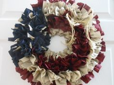 "Homemade Rag Wreath Country Primitive 4 Rows of frame 17"" around USA, 4th of July, Country, Primitive"