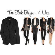Black Blazer - 4 Ways. Inspiration for my grey dress and black capris Blazer Fashion, Fashion Outfits, Fashion Capsule, Casual Outfits, Cute Outfits, Black Blazer Outfits, Mein Style, Business Fashion, Work Fashion