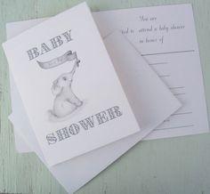 Baby Shower Invitation / Baby Boy Shower Invitation / Elephant Baby Shower Invitation / Art by LoraArtandStationery on Etsy