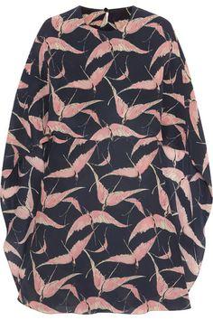 Valentino   Printed cape-back silk crepe de chine mini dress   NET-A-PORTER.COM