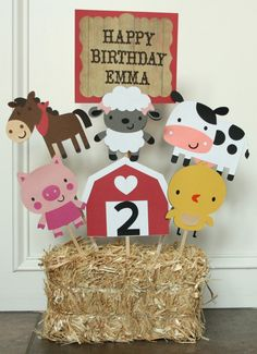 Barnyard / Farm Themed Birthday Party Centerpiece, Farm Birthday, Barnyard Birthday, Baby Shower, First Birthday Farm Animal Party, Farm Animal Birthday, Farm Birthday, 3rd Birthday Parties, Petting Zoo Birthday Party, Birthday Ideas, Farm Themed Party, Barnyard Party, Barnyard Cake