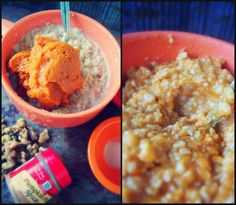 Healthy Pumpkin Pie Oatmeal, Bring on the Fall! Leave out the nuts to make it an E THM breakfast.