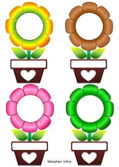 Preschool Flowers Class Name Badges - Preschool Children Akctivitiys Classroom Labels, Classroom Rules, Classroom Displays, Classroom Decor, Boarders And Frames, Classroom Birthday, Birthday Charts, Page Borders Design, School Frame