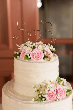 Rustic wedding cake with pink sugar flowers and rose gold wire intitial cake topper - Yorktown Freight Shed