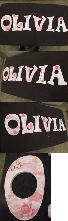 Other Nursery Wall D cor 20430: Olivia 9: Wood Handmade Decorated Letter $7 Per Letter Or $35.00 For All -> BUY IT NOW ONLY: $35 on eBay!