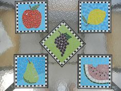 Set of Five Fruits Mosaic. $220.00, via Etsy.  These are cute.  I'm looking at maybe a lemon/lime/fruit mosaic as my next project.