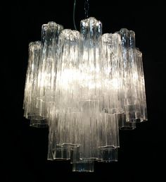 Lustre vintage avec verre de Murano Tronchi style par amedeofuga