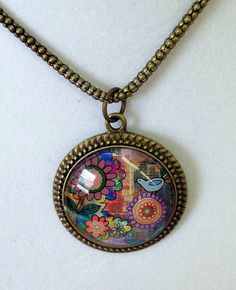 Happy Day Garden Necklace Brass Pendant with by BethNadlerArt, $16.00