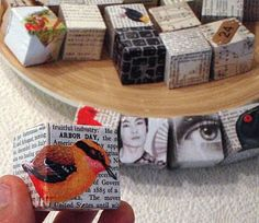Obtainium Art - blocks sanded and collaged with text paper & images. wrap paper on like wrapping a present Collages, Collage Art, Paper Art, Paper Crafts, Wooden Crafts, Diy Crafts, Assemblage Art, Box Art, Art Boxes