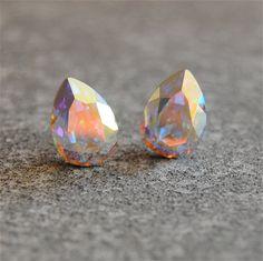 Aurora Borealis Earrings Swarovski Crystal Northern Lights Stud Earrings Small Duchess Pear Mashugana