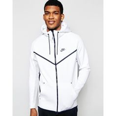 Nike TF Hoody 727340-100 (€145) ❤ liked on Polyvore featuring men's fashion, men's clothing, men's hoodies and white