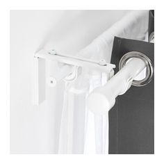 IKEA - BETYDLIG, Curtain rod holder, white, You can mount it in BETYDLIG wall/celling bracket to create a bracket for double rod. Two anti-slip liners - the thick liner fits RÄCKA curtain rod and the thin liner HUGAD curtain rod. Ikea Curtains, Ikea Curtain Rods, Curtain Rod Holders, Curtain Rod Brackets, White Curtains, White Curtain Rod, Layered Curtains, Double Rod Curtains, Ottoman Furniture