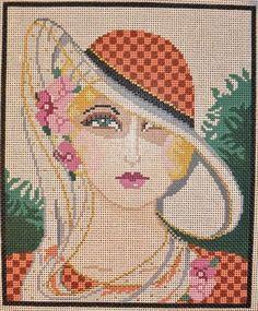 0 point de croix femme au chapeau - cross stitch lady with a hat