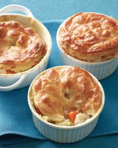 These are classic pot pies, with veggies, chicken, and golden crust. No one will resist them.