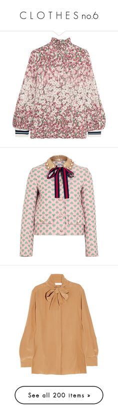 """""""C L O T H E S no.6"""" by ms-perry on Polyvore featuring tops, pink, colorful tops, pink floral top, floral print tops, flower print top, pink top, outerwear, jackets и gucci"""