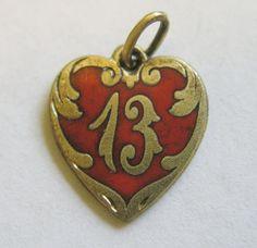 Antique Art Nouveau German Silver Enamel Lucky Number 13 Heart Charm ~ Superb! #Unbranded #ANTIQUELUCKY13CHARM