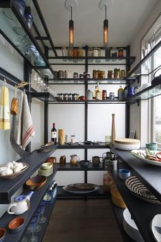Pantry with floating shelves in San Francisco kitchen.