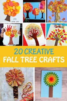 20 creative fall tree crafts for kids to make this autumn. So many different art and craft techniques used to create these autumn trees: colored pumpkin seeds, bubble wrap, tissue paper, Q-tip, 3D paper, cork painting, yarn, triangles, pine cone, newspaper, footballs, paper roll, handprint, puzzle, cotton pads, coffee filters. Easy crafts for preschoolers, kindergartners and older kids | at Non-Toy Gifts