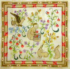 """VINTAGE SHARIANE DESIGNS INC. """"CLUNY"""" TAPESTRIES HANDPAINTED NEEDLEPOINT CANVAS #SHARIANEDESIGNSINC"""