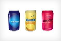 Artist Robert Gauldin has design a conceptual soda can set for well knowen pharmaceuticals as Viagra out of a vending machine (see below).  Although its just a concept design it sure make sense when so many people use all these pharmaceuticals, soon to become in a 12-pack :-)