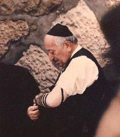 Nazi Hunter and Holocaust Survivor, Simon Wiesenthal at the Western Wall in Jerusalem.