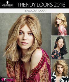 Schwarzkopf Trendy Looks 2016 č. 3: Shoulder Touch. Nové účesy Schwarzkopf inspirovalo dlouhé mikádo nazývané lob.