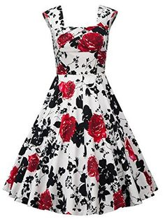 Babyonline® Vintage 1950's Floral Spring Garden Party Picnic Party Cocktail Dress