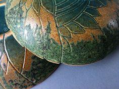 Ceramic#bowl#green#relief