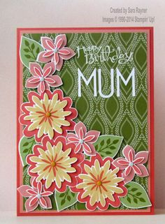 Flower patch mum birthday card, using supplies from Stampin' Up! www.craftingandstamping.com #stampinup