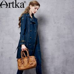 Find More Information about Artka Women's Autumn New Solid Color Cotton Denim Trench Vintage Turn down Collar Long Sleeve Trench With Sashes FN10167Q,High Quality denim blouse,China trench box Suppliers, Cheap trench leather from Artka on Aliexpress.com