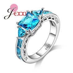 PATICO 925 Silver With Imitation Sapphire CZ Crystal Crystal Female Ring Fashion Finger Jewelry Rings For Women Engagement Party