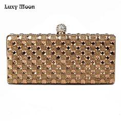 Luxury Glass Diamond Evening Bags Bling Bling Classic Rhinestone gold Clutch wedding bridal party evening