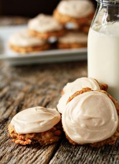 Carrot cake cookies with cream cheese frosting!