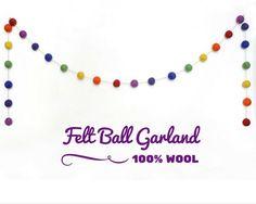 #Easter #Rainbow Felt Ball Garland, Multi Coloured Garland, Mantel Garland Decor, Felt Pom Pom Garland, Rustic Home Decor, Pom Pom #Bunting #pompoms #mantel #Easterdecor #feltballs