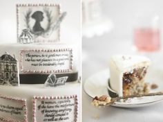 A very yummy creative Twelfth Night Jane Auseten cake from Sprinkle Bakes ( ©2008-2011 Heather Baird All Rights Reserved).   This blog is pretty amazing! she does a lot of literature based themes. Makes me want to go and take a cake decorating class!