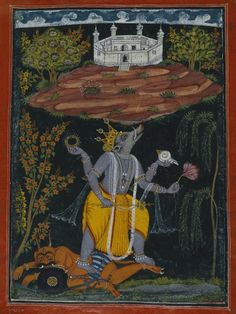Varaha Rescuing the Earth, page from an illustrated Dasavatara series  Culture: Indian Medium: Opaque watercolor, gold, and silver on paper Dates: ca. 1730-1740 Brooklyn Museum