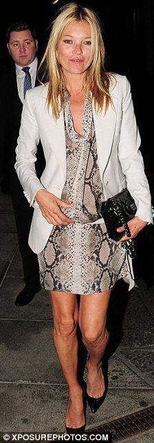 Crocodile print dress. White Blazer.