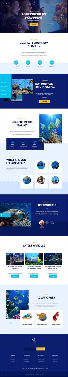 Looking for Aquarium Oceanarium WordPress Theme? Aqualots is number one choice for your website. Beautiful modern design combined with powerful framework. Aquarium Shop, Travel Booking Sites, Ui Design Inspiration, Design Ideas, Service Program, Typography Layout, Wordpress Template, Premium Wordpress Themes, Page Layout